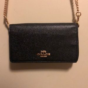 leather COACH crossbody black with gold chain